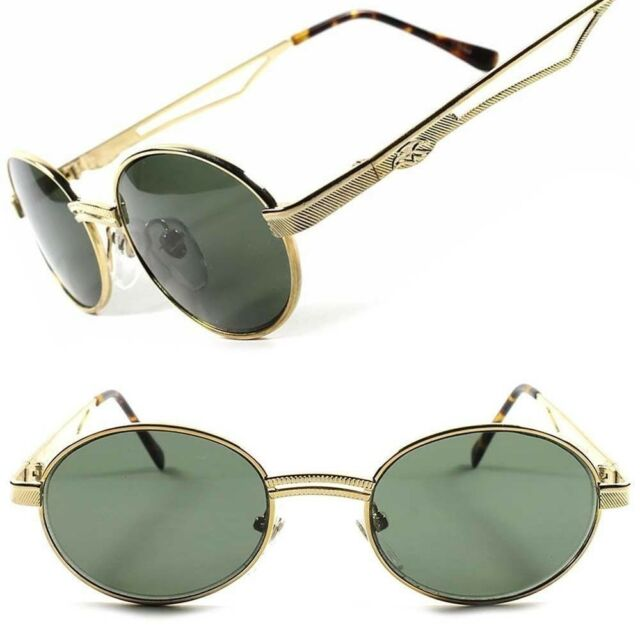 Gold Frame Vintage Fashion Old School Cool Mens Womens Oval Round Sunglasses E11