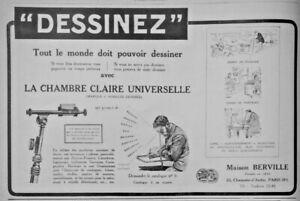 PUBLICITE-DE-PRESSE-1926-DESSINEZ-AVEC-LA-CHAMBRE-CLAIRE-UNIVERSELLE-BERVILLE