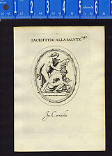 Naked Man & Woman Making Sacrifice- Leonardo Agostini-Battista -1685 Engraving