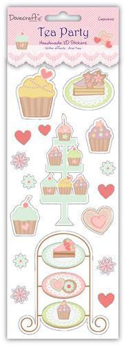 Tea Party Glittered 3d stickers for cards and crafts