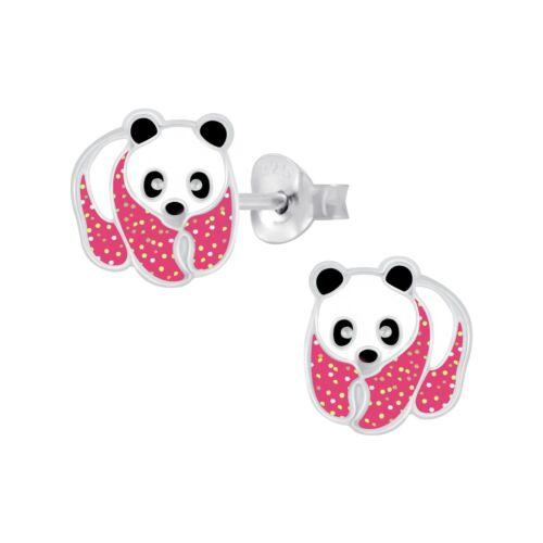 Girls Pink Glitter Black /& White Panda Sterling Silver Stud Earrings 9mm
