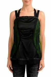 Maison-Margiela-1-Silk-Black-Green-Sleeveless-Women-039-s-Blouse-Top-US-S-IT-40