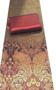 !Beautiful Rayon Silk Fabric Synthetic Thai Tradition Wedding dress 2pcs Maroon