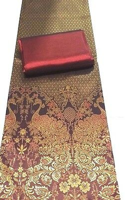 !Beautiful Rayon Silk Fabric Synthetic Thai Tradition Wedding dress 2pcs Maroon