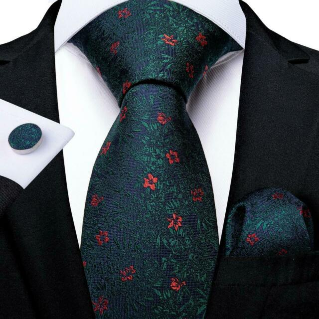 Classic Silk Ties Green Floral Necktie Set Wedding Hanky Cufflinks Necktie C1227