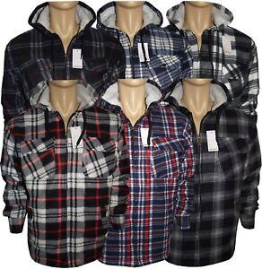 Men-039-s-fourrure-double-matelasse-thermique-Hoang-manches-longues-bucheron-a-capuche-chemises