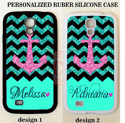 CUSTOM TEAL BLACK CHEVRON PINK ANCHOR MONOGRAM CASE For Samsung Galaxy S7 S6 S5