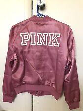Victoria Secret Pink Fashion Show Soft Begonia Satin Bomber Jacket Coat Outwear