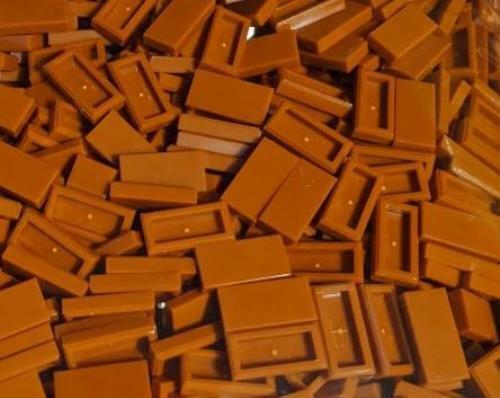 Lego 25x Dark Orange 1 x 2 Tile with Groove Plate NEW