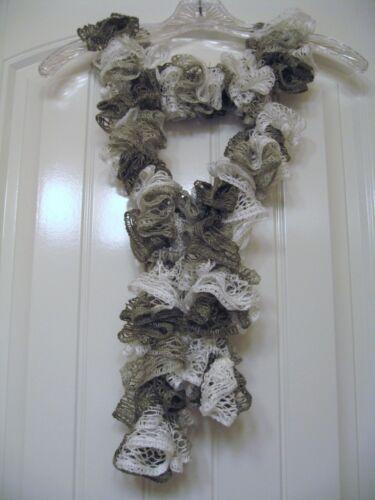 Taupe Shimmer Handmade Crocheted Fashion Ruffle Scarf