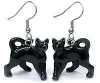Je057 - Black Cat Earrings -surgical Steel Porcelain Dangle - Little Critterz