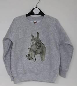Horse-Sweatshirt-Children-039-s-and-Adult-Sizes