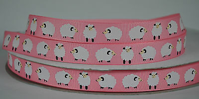 """15mm (5/8"""") PINK w/ WITH SHEEPS grosgrain ribbon 3mtrs for crafts card"""
