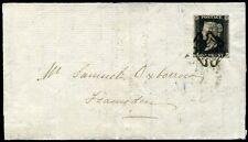 1840 SG2 1d Black Plate 1b (FD) 4 Margins IPSWICH Black Maltese Cross