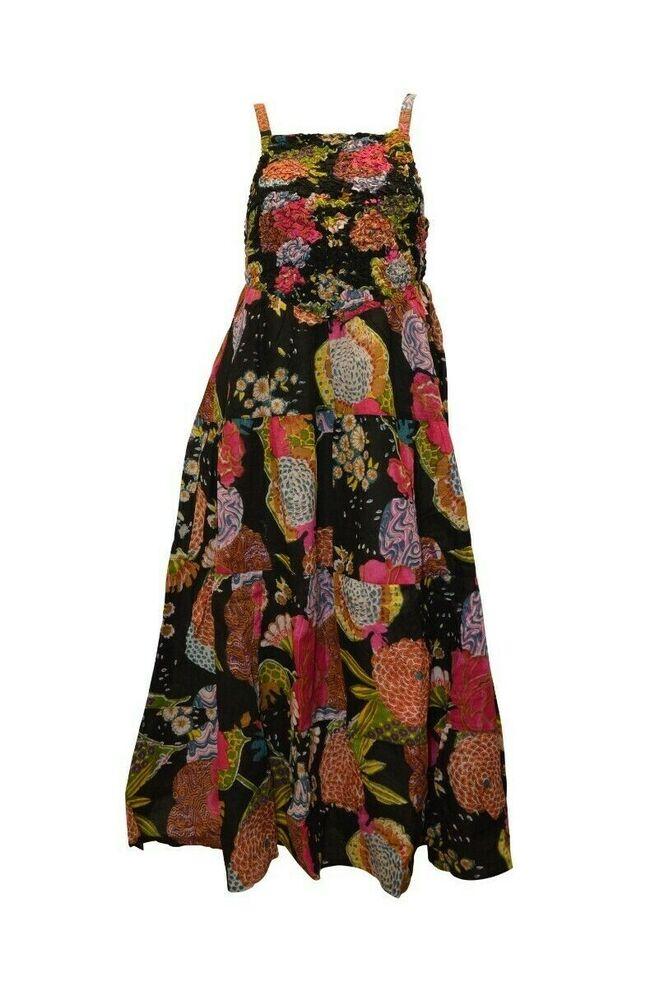 100% Coton Boho Hippie Style Vintage Lanière élastique Floral Robe Longue P6