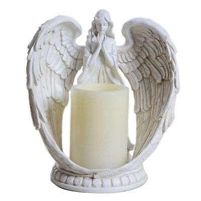 """9/"""" Praying Angel Wings Figurine Sculpture Statue Prayer Candle Holder 4//8H Timer"""