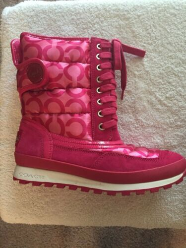 Coach Dorian Pink Quilted Boots 7M