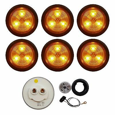 """6 PACK of CLEAR/AMBER LED 2"""" ROUND CLEARANCE/MARKER LIGHTS TRAILER RV FREE SHIP"""