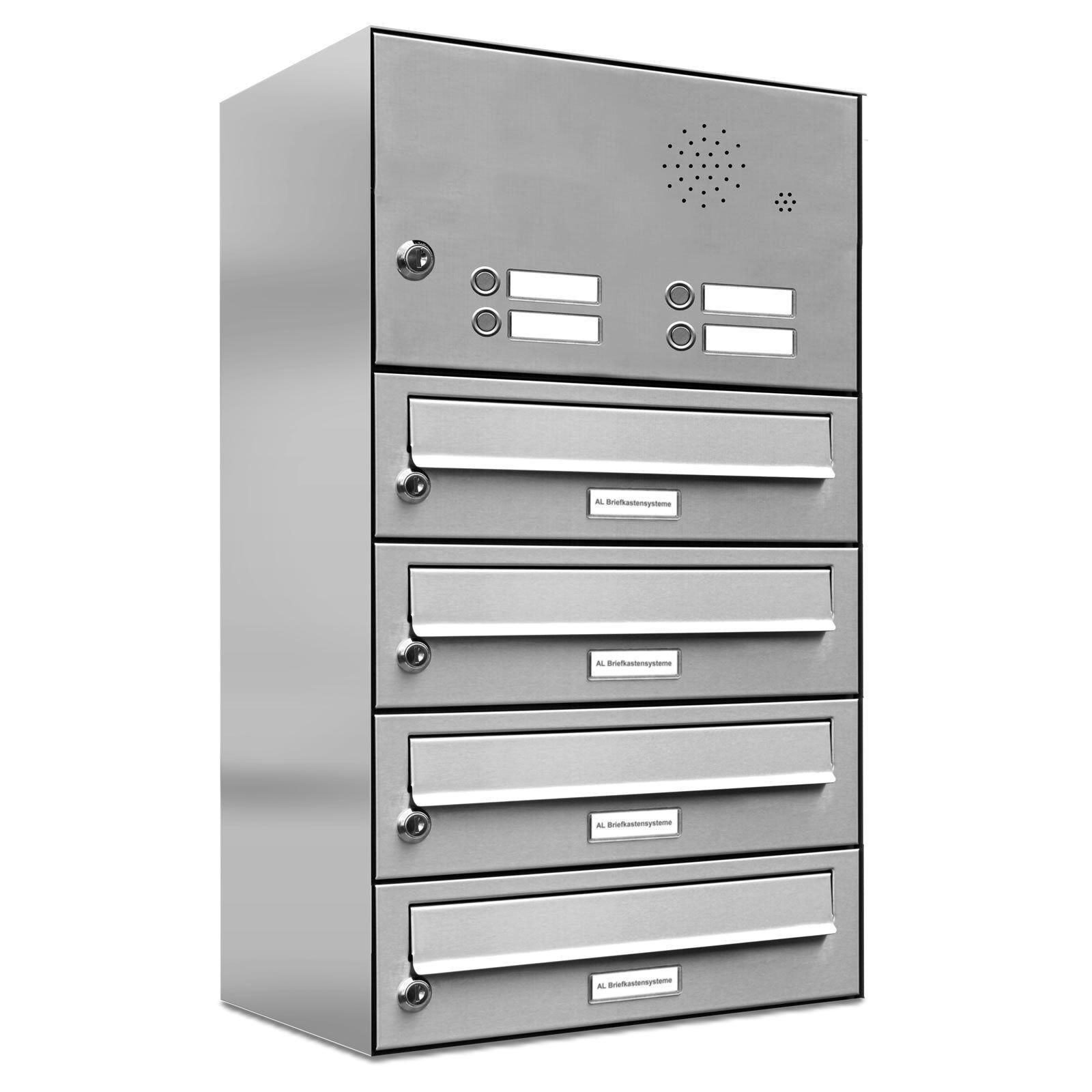 4er Premium V2A Edelstahl Briefkasten Anlage mit Klingel 4 Fach A4 Postkasten
