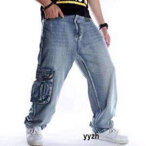 Moda Hombre Denim Hip Hop Holgado Pantalones Jeans Pantalones De Danza Sueltos Bolsillo Ropa De Calle Ebay