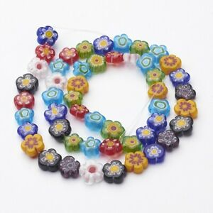 1-Strd-Mix-Handmade-Millefiori-Glass-Bead-Strands-Flower-Loose-Jewelry-8-11mm