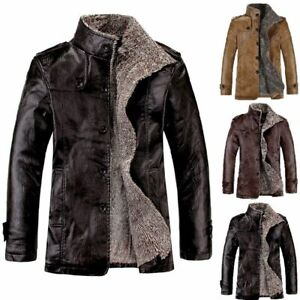 Mens-Winter-PU-Leather-Jacket-Warm-Lapel-Collar-Fur-Lined-Thicken-Parka-Coats-US