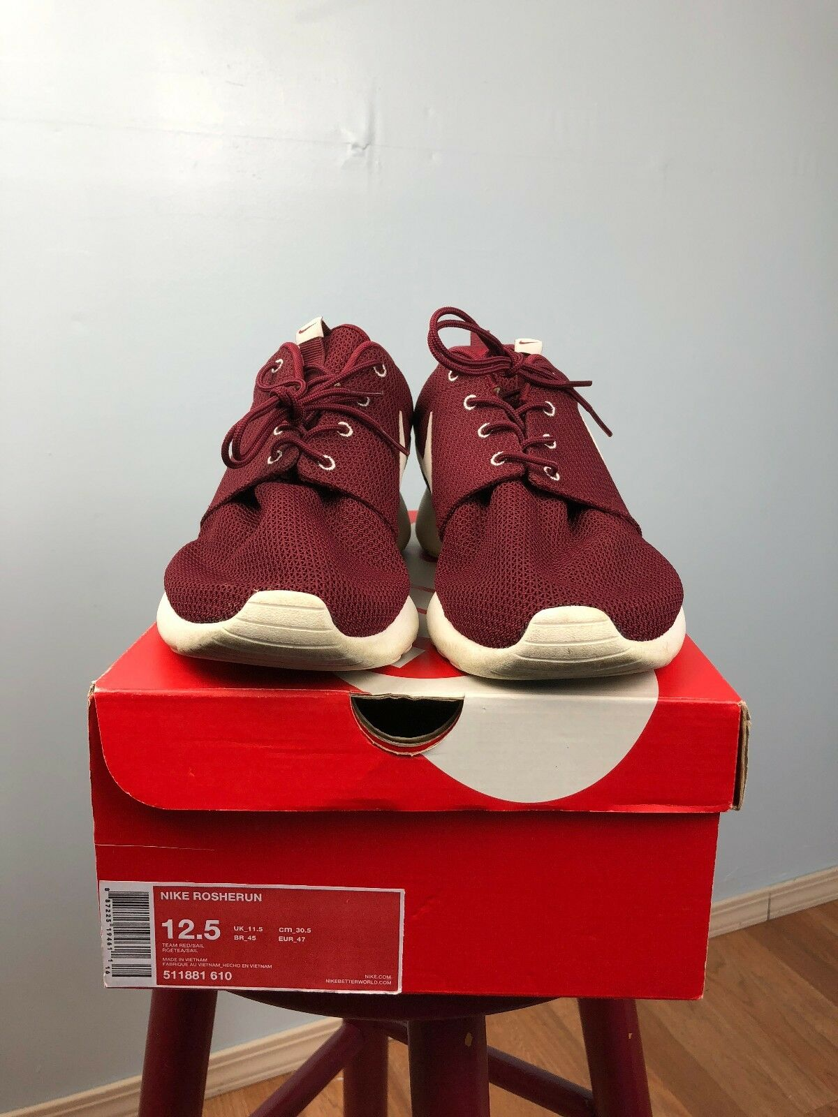 hot sale online 9c4cf 4f56a ... Nike Rosherun Team Red Sail Sail Sail Maroon Pre-owned MEN Size US 12.5  ...