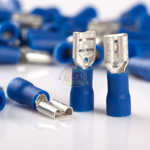"14-16 GAUGE AWG BLUE .187/"" FEMALE QUICK DISCONNECT TERMINALS INSULATED 100 PACK"