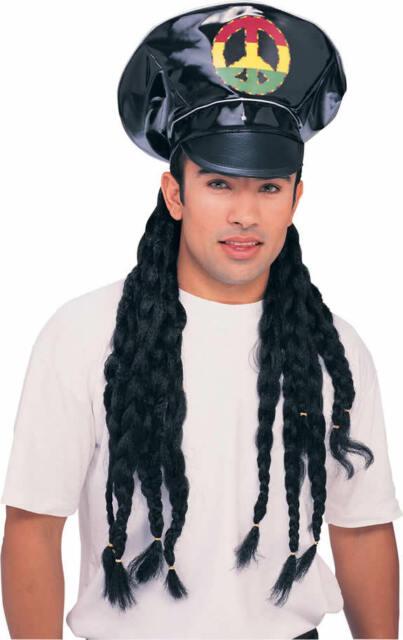 Black Vinyl Rasta Hat w/Hair Jamaican Dress Up Halloween Adult Costume Accessory