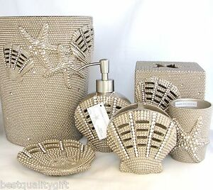 Coastal collection 6pc set beige resin crystal beach soap for Bella lux bathroom accessories uk