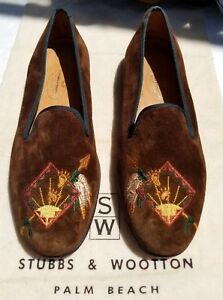 NO-BOX-USED-Stubbs-amp-Wootton-Native-Arrow-Brown-Velvet-Slippers-Shoes-SZ-8