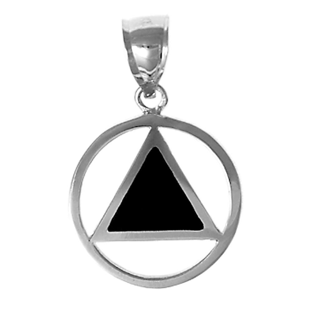AA Alcoholics Anonymous Classic Enamel Inlay Pendant, Med. Size, Ster.