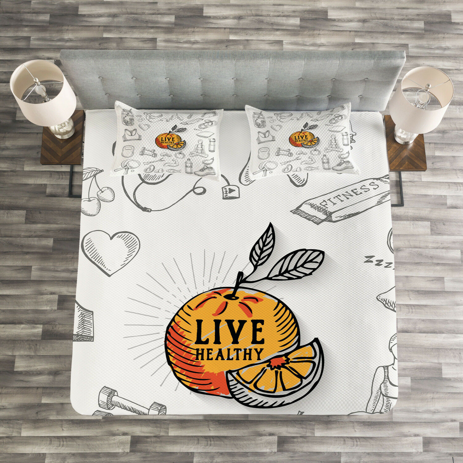Fitness Quilted Bedspread & Pillow Shams Set, Live Healthy Theme Print