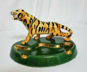 Antique-Vintage-TIGER-Ceramic-Porcelain-Ashtray-Trinket-Dish-Green-w-Gold-Trim