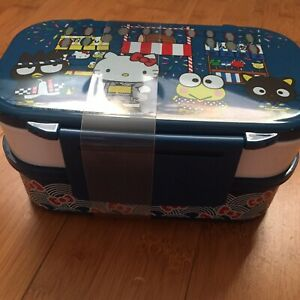 NIB-Hello-Kitty-BENTO-LUNCH-BOX-Picnic-Container-with-Cutlery-Set-Blue-Omatsuri