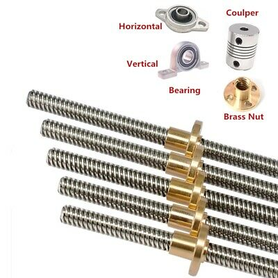 8mm T8x2 L600-1200MM Lead Screw Pitch 2mm Lead 2mm /& Brass Nut For 3D Printer