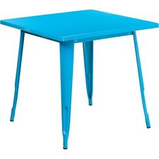 Flash Furniture 31.5in Square Crystal Blue Metal Indoor-Outdoor Table NEW