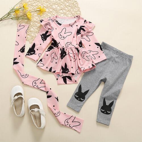 Lang Hose Outfits Set DE Baby Mädchen Kleidung Langarm Strampler Schößchen Top
