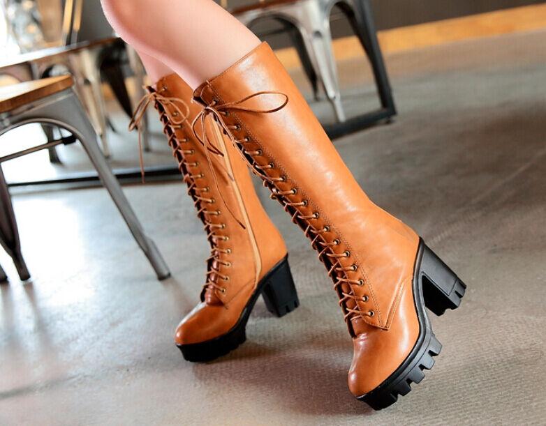 Roman Fashion Women Punk Lace-Up Chunky Heel Platform Boot Knee-High shoes New