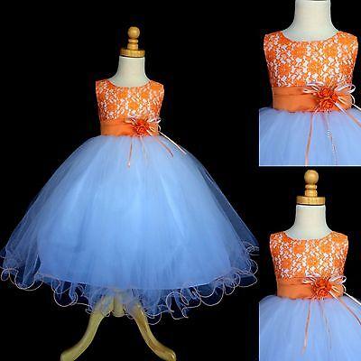 NEW Orange Lace Tulle Dress w// Fishing Line Flower Girl Birthday Easter #015
