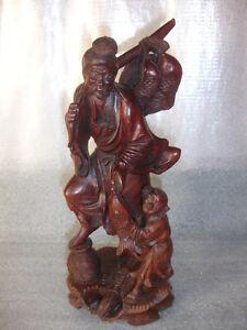 Old Vtg Japanese Oriental Carved Wood Fisherman Man Boy