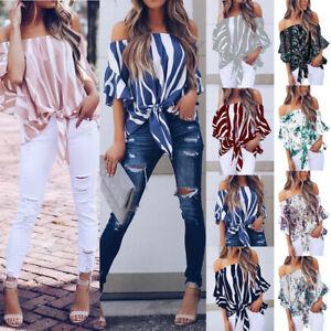 Para-mujer-Bardot-Hombro-Tops-Damas-verano-Casual-Suelta-Camiseta-Blusa-6-24