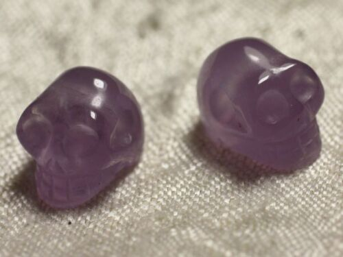 Crâne tête de mort 14x10mm perçage coté 1pc 4558 Perle de Pierre Améthyste
