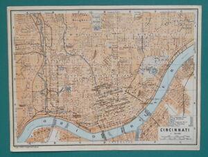 CINCINNATI-Town-Plan-Ohio-1909-MAP-Baedeker-6-x-8-034-15-x-20-cm