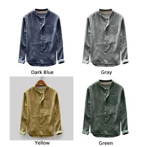 Men-039-s-Vintage-Loose-Casual-Cotton-Blends-Shirts-Stand-Collar-Long-Sleeve-Blouse