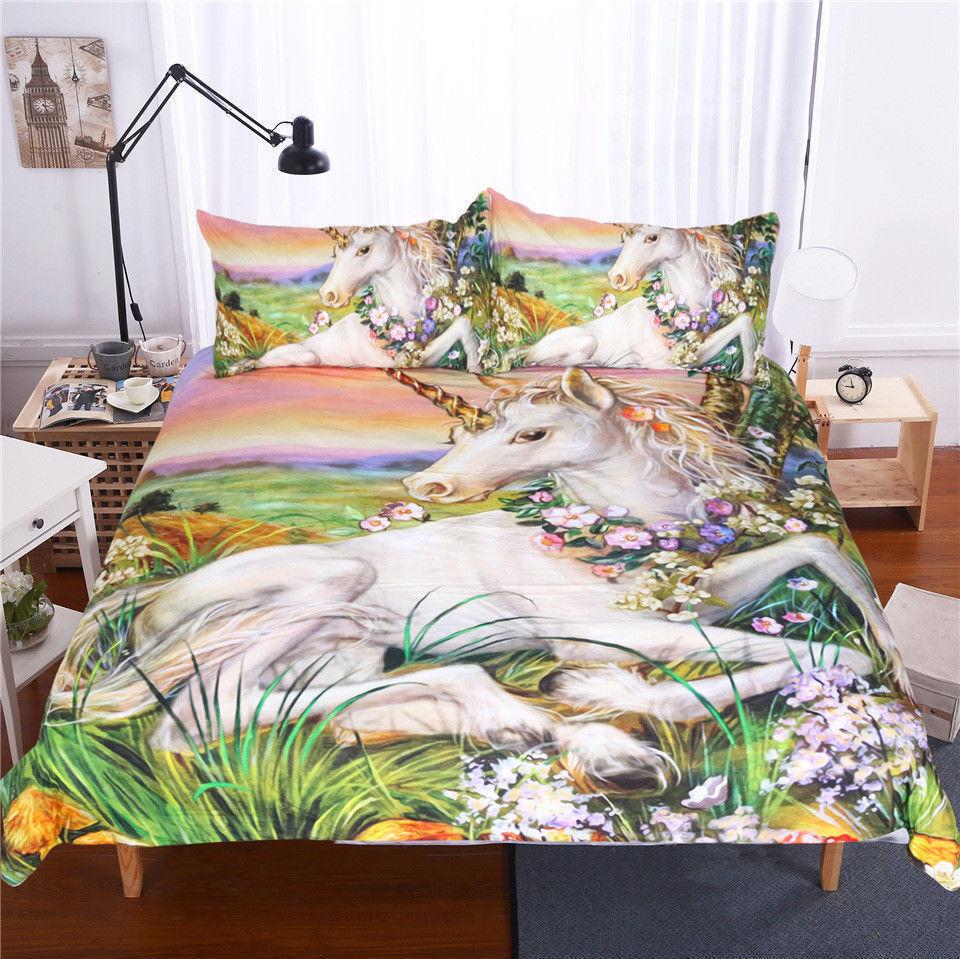 3D Unicorn Printed Bedding Set Comforter Cover Pillowcase Duvet Quilt Cover F59