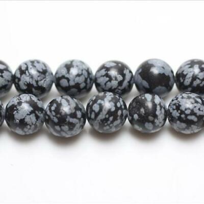 Charming Beads Paquet 12 x Noir//Blanc Obsidienne Flocon De Neige 4mm Perles Rond VP2915