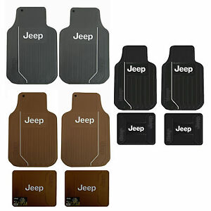 Brand New Jeep Elite Gray Tan Black Car Truck All Weather Ruuber Floor Mats Set