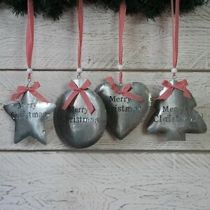 image is loading large christmas decorations metal hanging silver tin heart