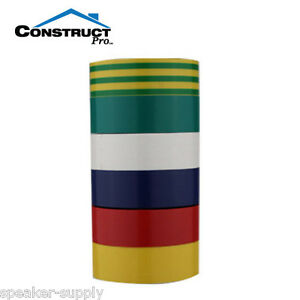 """3/4"""" x 30' 6 Pack Electrical Electricans Tape Multi Color Colors UL CON3110MC"""